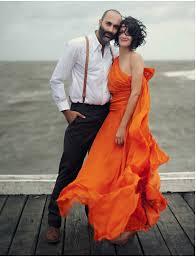 Bold Orange Wedding Dress