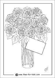 Colouring Page Of A Vase Flowers