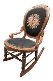 1930s Traditional Needlepoint Ladies Slipper Rocking Chair