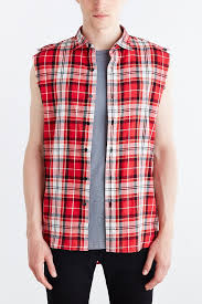 kill city sleeveless flannel button down shirt in red for men lyst