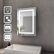 bad spiegelschrank mit beleuchtung schiebetür led licht badezimmer spiegelschrank bad hängeschrank mit steckdose und kippschalter 50 x 70 cm