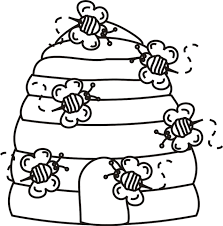 Beehive With Bees Coloring Page