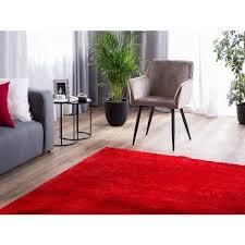 teppich rot 160 x 230 cm shaggy mit kuschelfaktor handgetuftet rechteckig klassisch