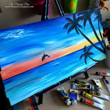 Sunset Dolphin Beach Acrylic Painting On Pallet Wood 24 X 12