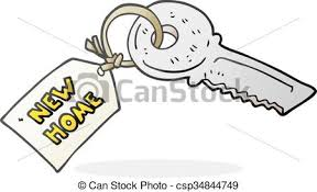 Cartoon House Key With New Home Tag