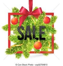Black Winter Sale Sign With Red Ribbon Green Fir Tree Branches And Balls