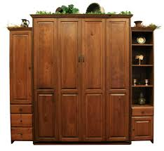 Queen Size Rustic Cherry Sierra Murphy Bed With Autumn Haze Black Glaze Finish