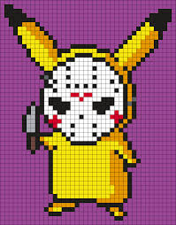 Jason Voorhees Pumpkin Stencil Free by Pikachu In A Jason Voorhees Mask Perler Bead Pattern Bead