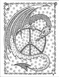 Dragon Peace Sign Coloring Page By ChubbyMermaid