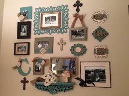 Wall Collage Made From Different Frames And Other Decorations