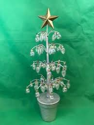 Image Is Loading Silver Christmas Tree With Clear Glass Miniature Ornaments