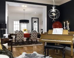 DIVINE DESIGN Gold Piano Is Centerpiece Of Black White Room