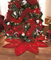 Red Poinsettia Tree Skirt