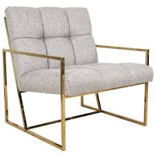Mid Century Modern Style Accent Chair In Textured Neutral Linen W Inside Plans 15