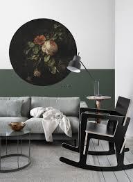 wohnzimmer selbsklebende runde tapete blumenstillleben schwarz und grün 159014