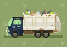 100 Rubbish Truck Isolated Garbage Vector Flat Cartoon Illustration Royalty