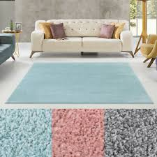 details zu teppich wohnzimmer hochflorteppich modern grau hellblau rosa einfarbig uni