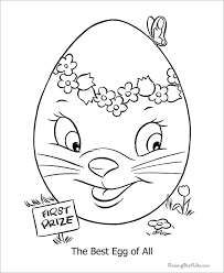 This Adorable Easter Egg Coloring Page Depicts A Well Decorated With Flowers And The First Prize Tag Best Of All Caption