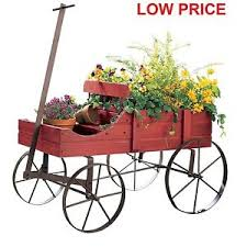 Image Is Loading Wood Wagon Wheel Decorative Planter Bed Garden Flower