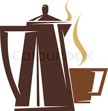 Coffee Pot And Steaming Cup Of In Shades Brown Vector Illustration