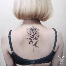 Black Ink Rose Tattoo On Women Upper Back