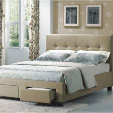 Emerald Tan Linen Platform Upholstered Bed Set Free Shipping