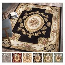 Pastoral Medallion Black French Area Rug European Formal Traditional 7 X 9 Easy Clean