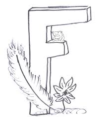 Alphabet Coloring Pages Free Letter F Flower