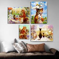 minimallist kunst vladimir rumyantsev katzen poster druck katze malerei tier liebhaber geschenk wohnkultur für wohnzimmer wand malerei