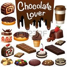 Different kind of dessert chocolate flavor illustration