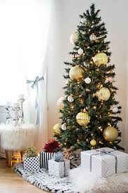 Skinny Christmas Tree With Large Gold Ornaments Great For Big Impact In A Small Space