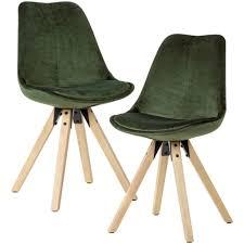 wohnling weiches esszimmerstuhl 2er set ohne armlehnen in grün stoff küchenstühle modern mit holzbeinen schalenstuhl gepolstert 110 kg