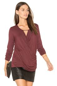 krisa lace up surplice blouse in purple wheretoget