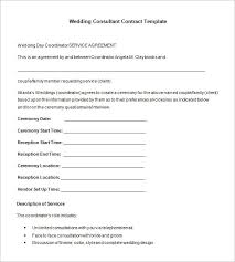 Wedding Consultant Contract Format Template For