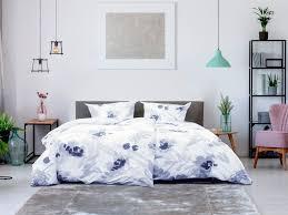 primera perkal bettwäsche aquarell blumen blau verschiedene größen mit reißverschluss