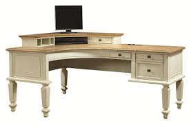 L Shaped Computer Desk With Hutch by Curved Half Pedestal L Shaped Desk And Corner Hutch With 1 Drawer