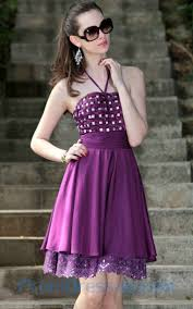 buy tailor made halter beading lace purple unique short dress for