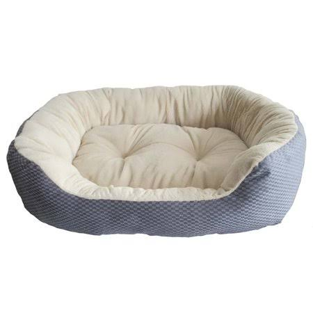 "Ethical Textured Jute Fabric Dog Bed - Blue/Grey, 31"" x 26"" x 7"""