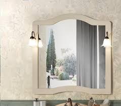 klassischer spiegel mit rahmen und 2 wandleuchten avorio