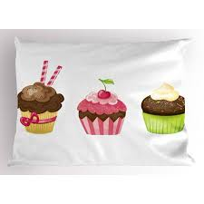 Dessert Pillow Sham Puffy Party Cupcakes Rolled Wafers Stucked In The Creamy Toppings Cherry Frostings Decorative Standard Size Printed Pillowcase