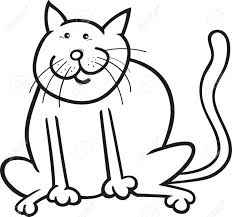 Cartoon Coloring Page Illustration Of Funny Sitting Cat Stock Vector