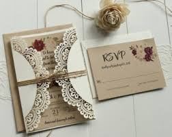 Rustic Wedding Invitation Laser Cut Burgundy Pink Floral