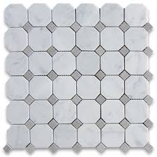 carrara white 2 inch octagon mosaic tile w gray dots honed