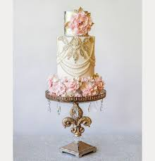 Elegant Cream Gold And Pink Wedding Cake By Amy Cakes