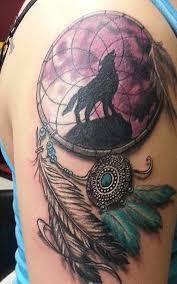 Color Wolf Dreamcatcher Tattoo Design On Upper Arm