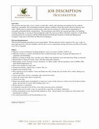 Resume Examples For Housekeeping Hotel Housekeeper Objective
