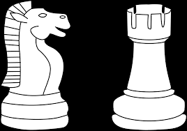 Two Chess Pieces Line Art
