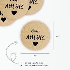 Mini Tag Kraft Com Amor 3cm
