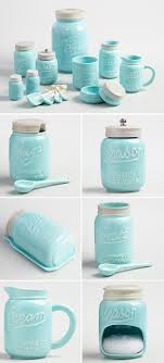 Bue Ceramic Mason Jar Collection Turquoise Kitchen DecorCow