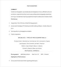 Photographer Sample Resume Example Template Product Professional